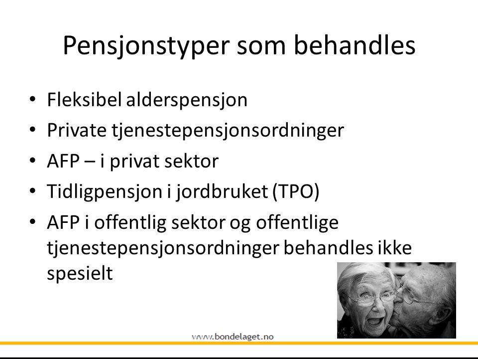 Pensjonstyper som behandles
