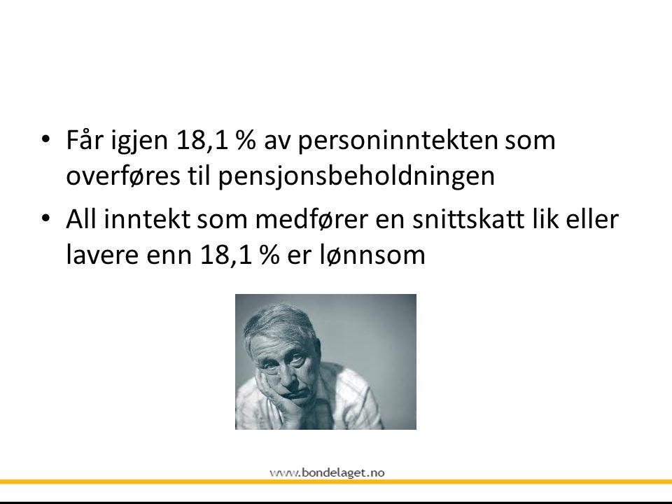 Får igjen 18,1 % av personinntekten som overføres til pensjonsbeholdningen