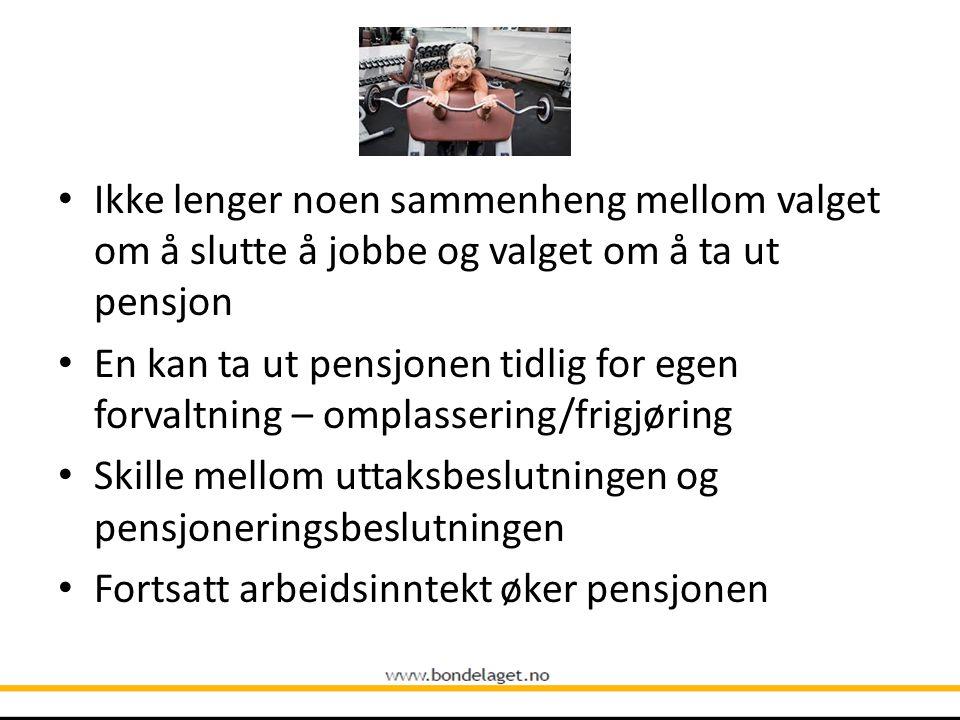 Ikke lenger noen sammenheng mellom valget om å slutte å jobbe og valget om å ta ut pensjon
