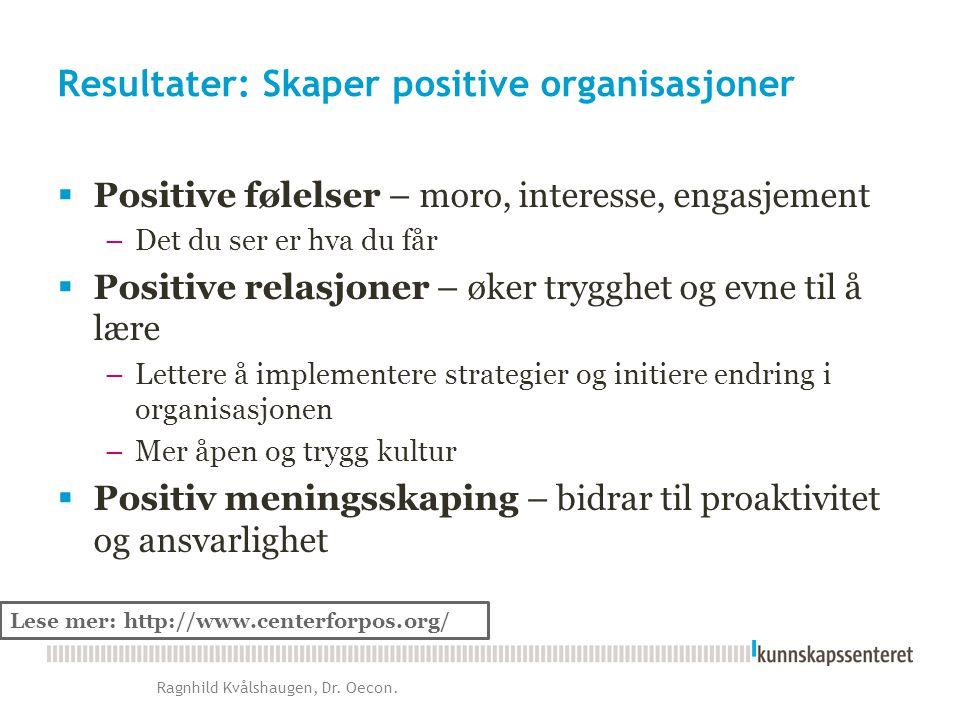 Resultater: Skaper positive organisasjoner