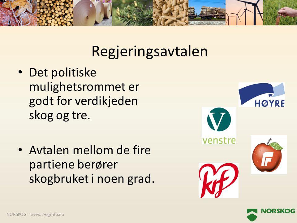 Regjeringsavtalen Det politiske mulighetsrommet er godt for verdikjeden skog og tre. Avtalen mellom de fire partiene berører skogbruket i noen grad.