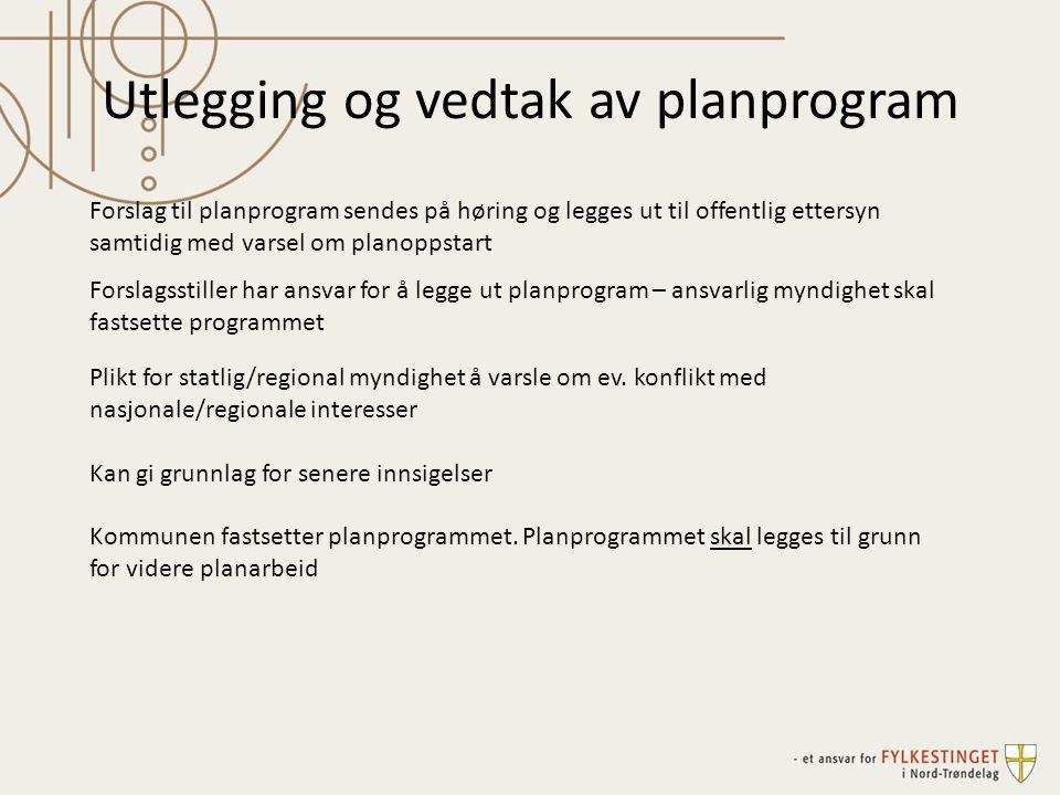 Utlegging og vedtak av planprogram