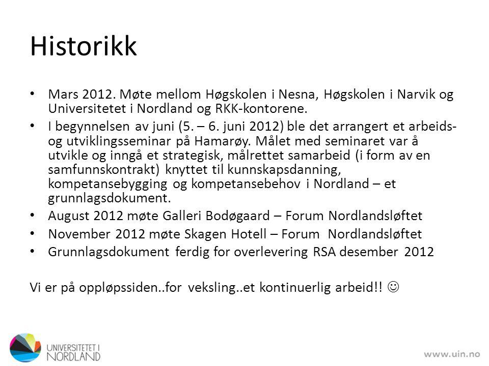 Historikk Mars 2012. Møte mellom Høgskolen i Nesna, Høgskolen i Narvik og Universitetet i Nordland og RKK-kontorene.