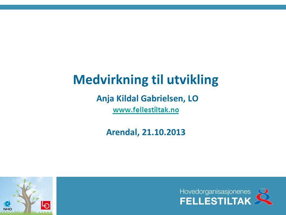 Medvirkning til utvikling Anja Kildal Gabrielsen, LO www. fellestiltak