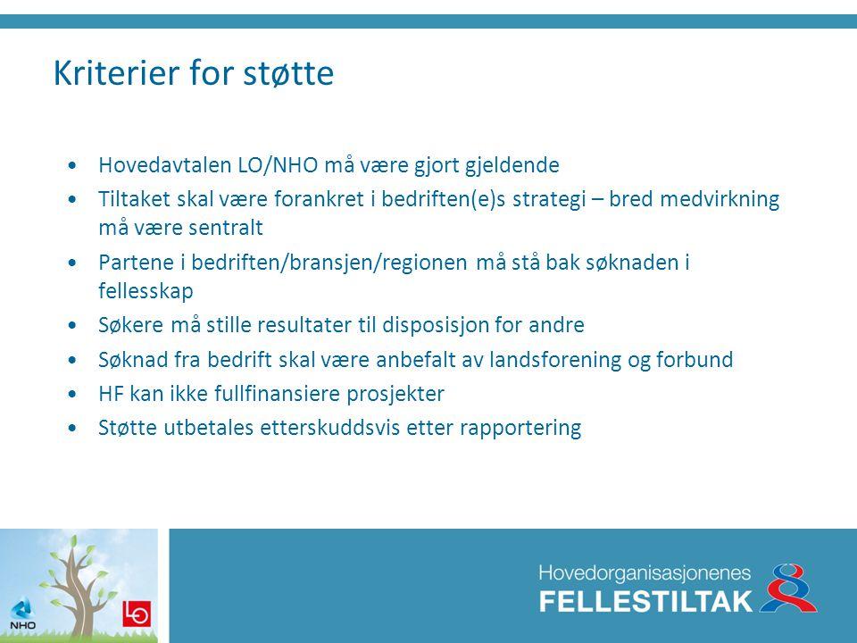 Kriterier for støtte Hovedavtalen LO/NHO må være gjort gjeldende