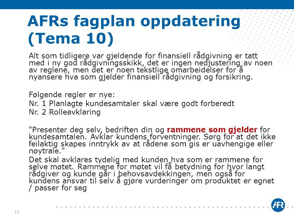AFRs fagplan oppdatering (Tema 10)