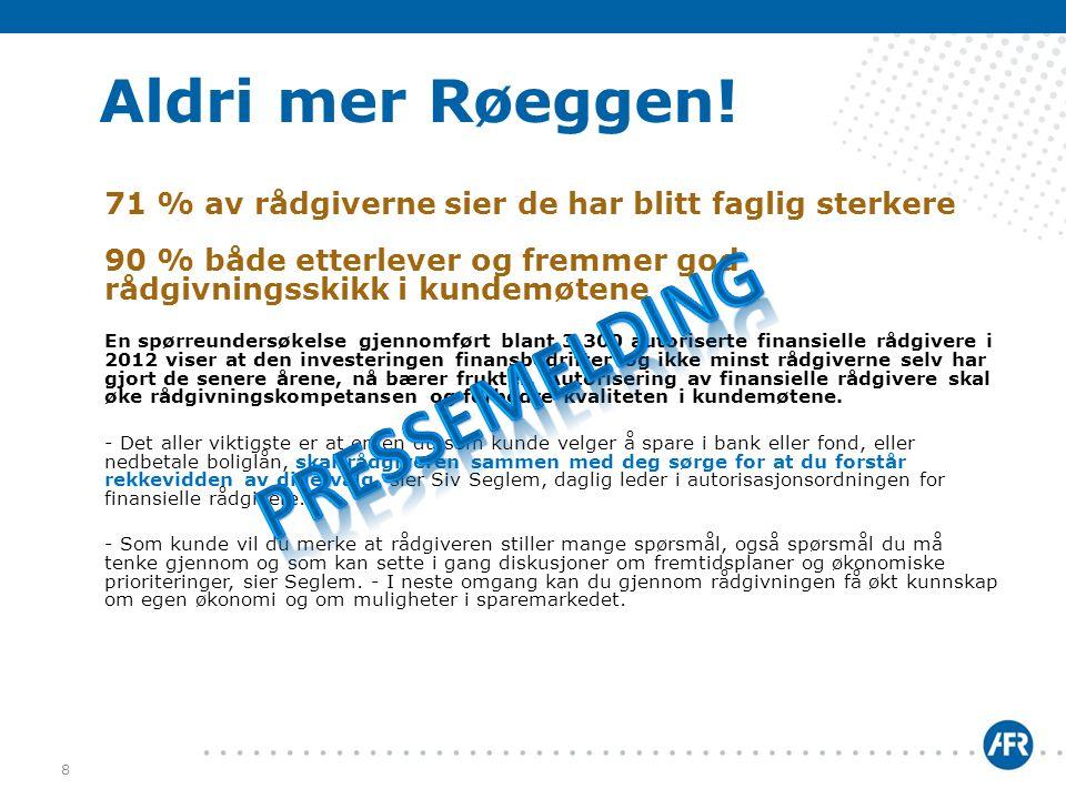 Pressemelding Aldri mer Røeggen!
