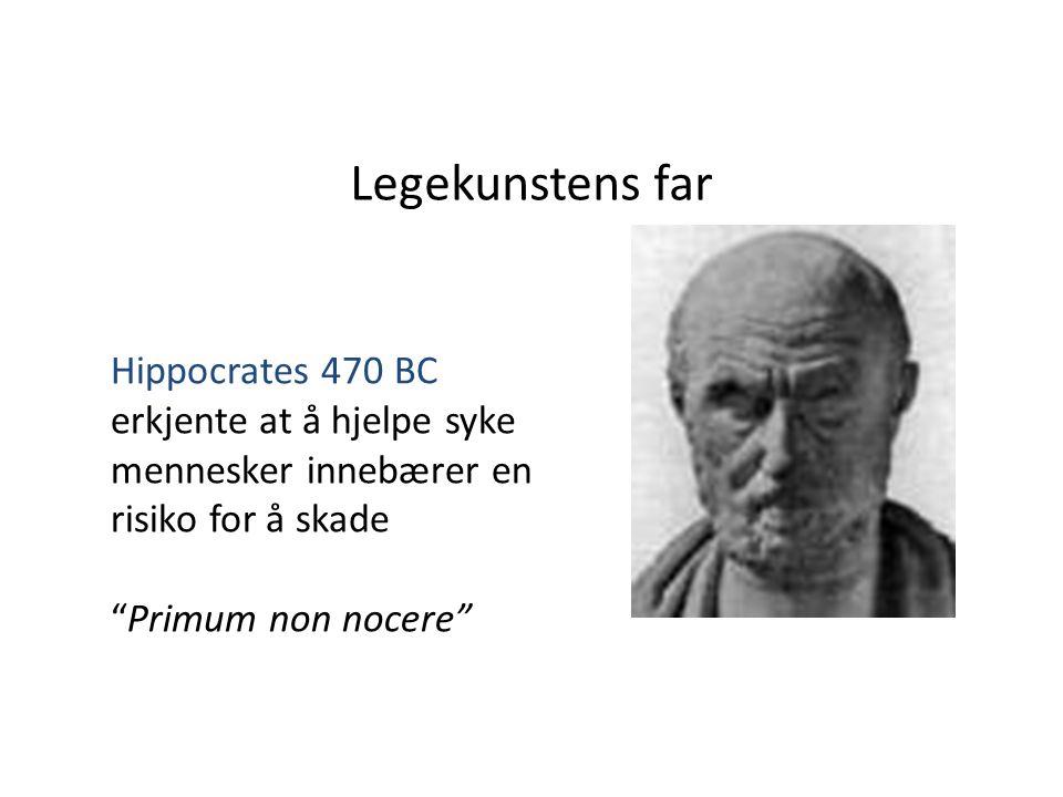 Legekunstens far Hippocrates 470 BC erkjente at å hjelpe syke mennesker innebærer en risiko for å skade.