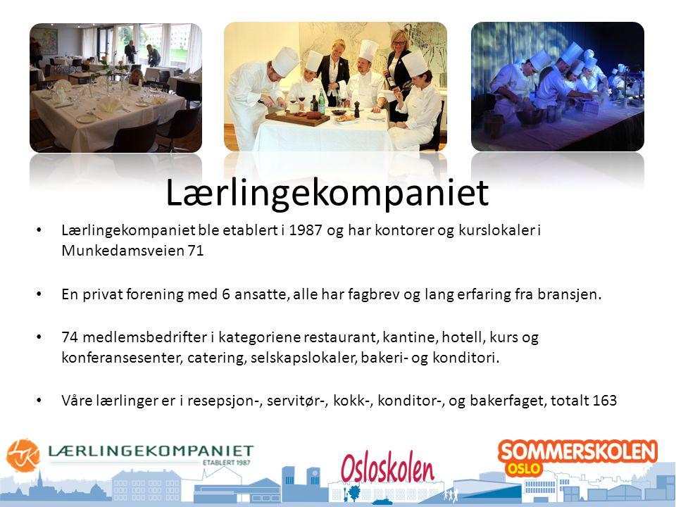 Lærlingekompaniet Lærlingekompaniet ble etablert i 1987 og har kontorer og kurslokaler i Munkedamsveien 71.