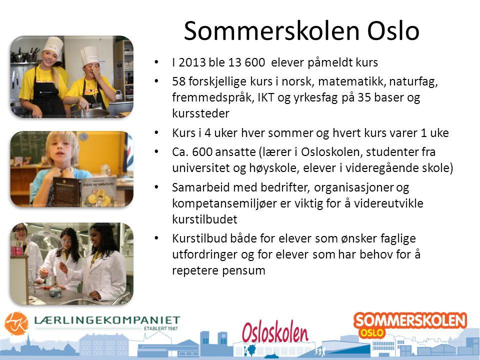 Sommerskolen Oslo I 2013 ble 13 600 elever påmeldt kurs