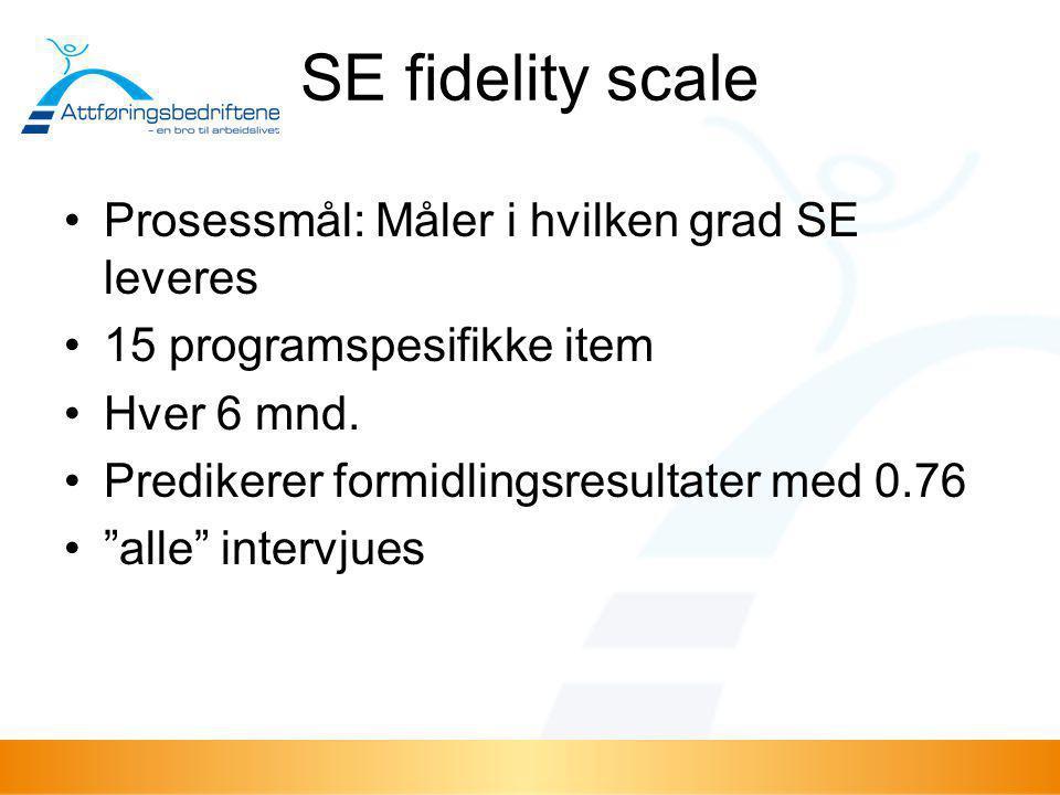 SE fidelity scale Prosessmål: Måler i hvilken grad SE leveres