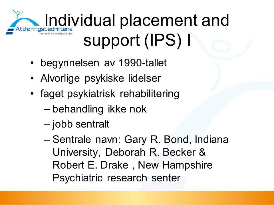 Individual placement and support (IPS) I