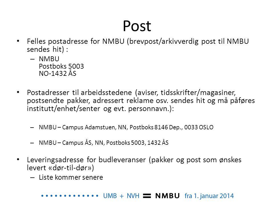 Post Felles postadresse for NMBU (brevpost/arkivverdig post til NMBU sendes hit) : NMBU Postboks 5003 NO-1432 ÅS.