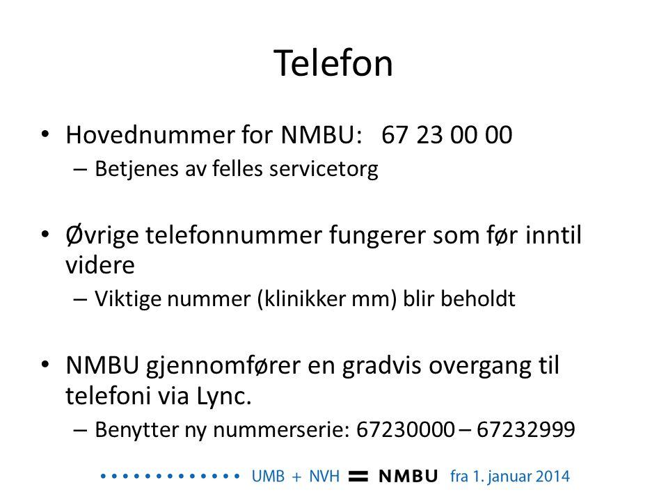 Telefon Hovednummer for NMBU: 67 23 00 00