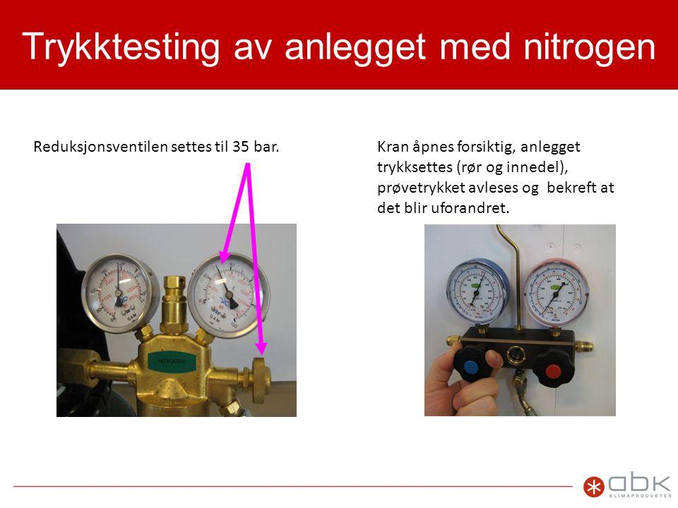 Trykktesting av anlegget med nitrogen