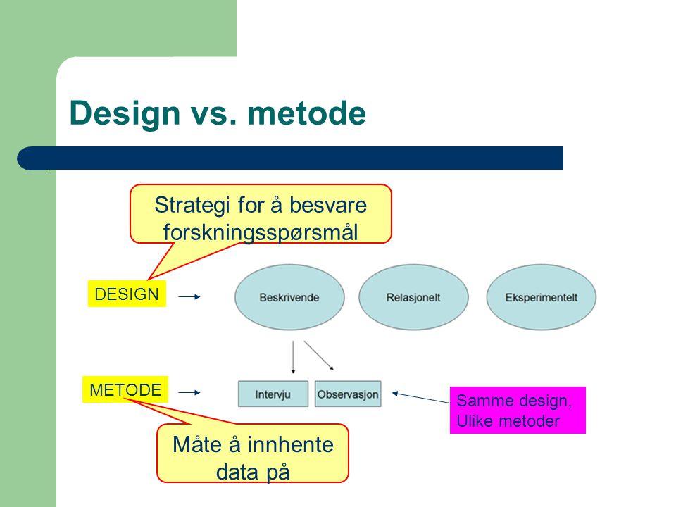 Design vs. metode Strategi for å besvare forskningsspørsmål