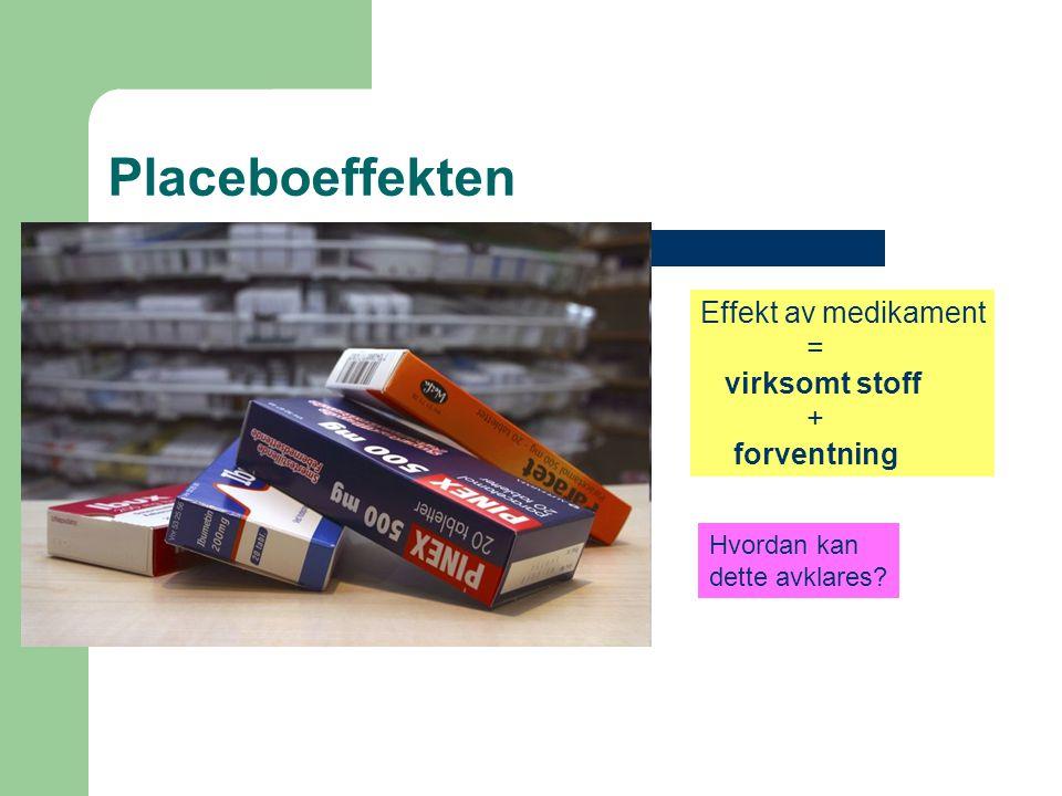 Placeboeffekten Effekt av medikament = virksomt stoff + forventning