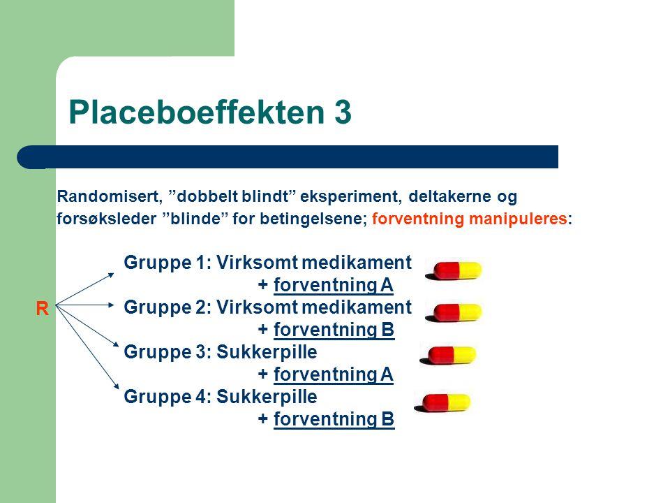 Placeboeffekten 3 Gruppe 1: Virksomt medikament + forventning A