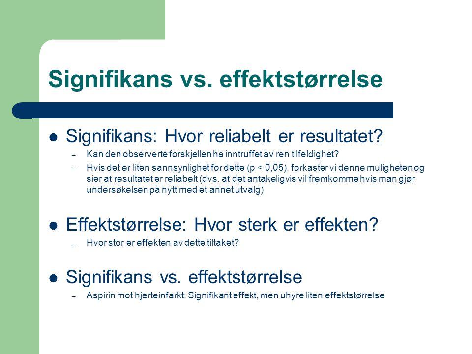 Signifikans vs. effektstørrelse
