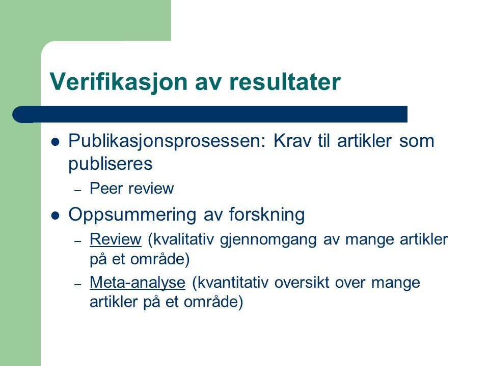 Verifikasjon av resultater