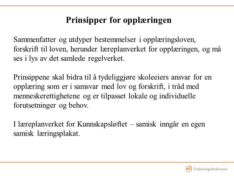 Prinsipper for opplæringen