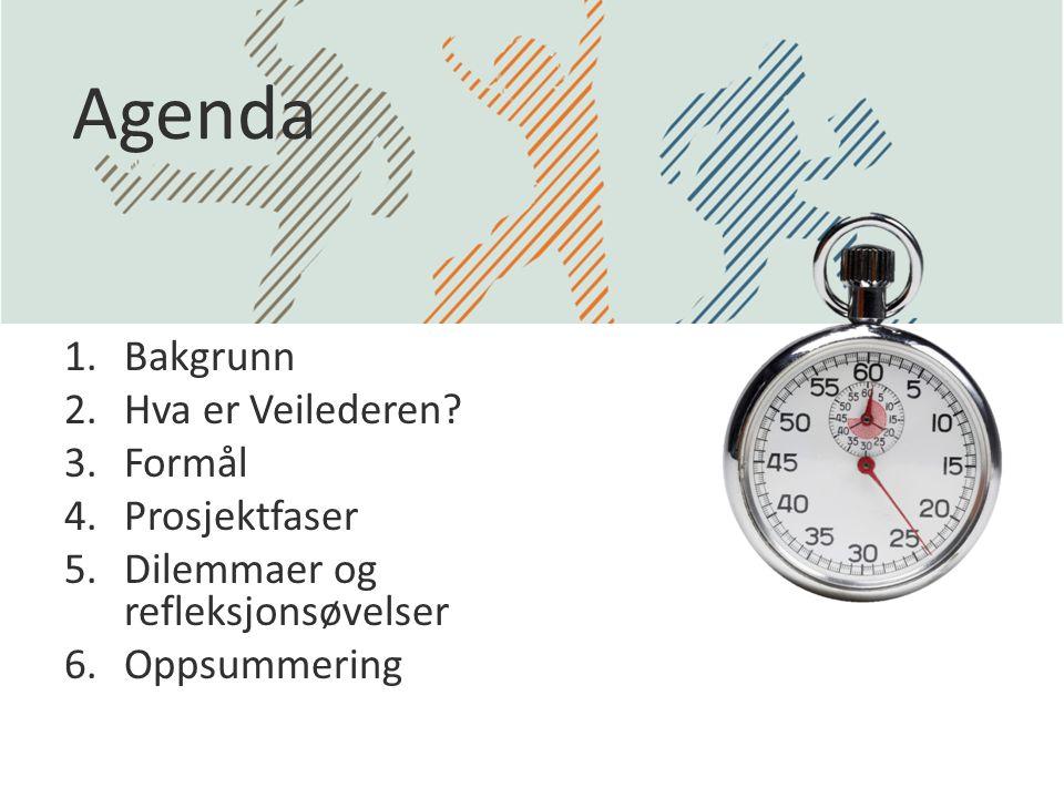 Agenda Bakgrunn Hva er Veilederen Formål Prosjektfaser