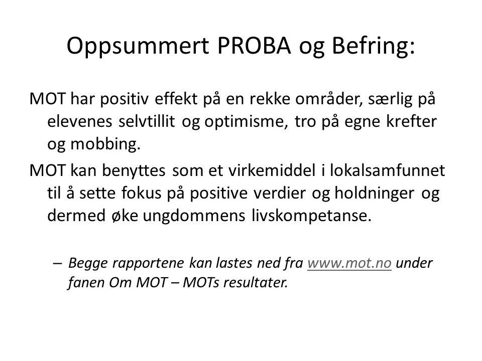 Oppsummert PROBA og Befring: