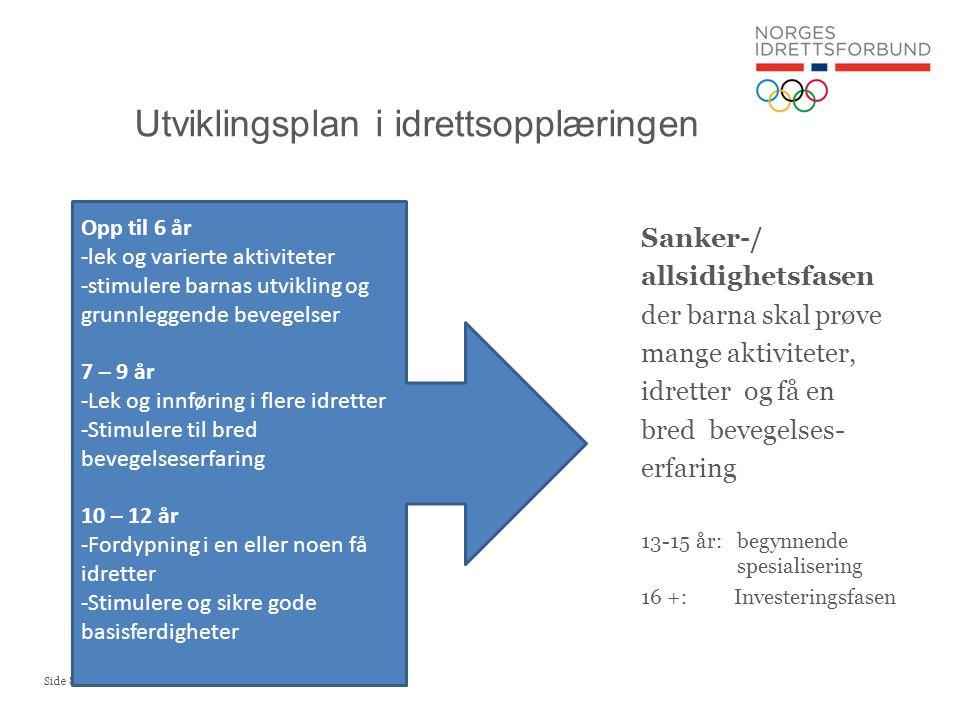 Utviklingsplan i idrettsopplæringen