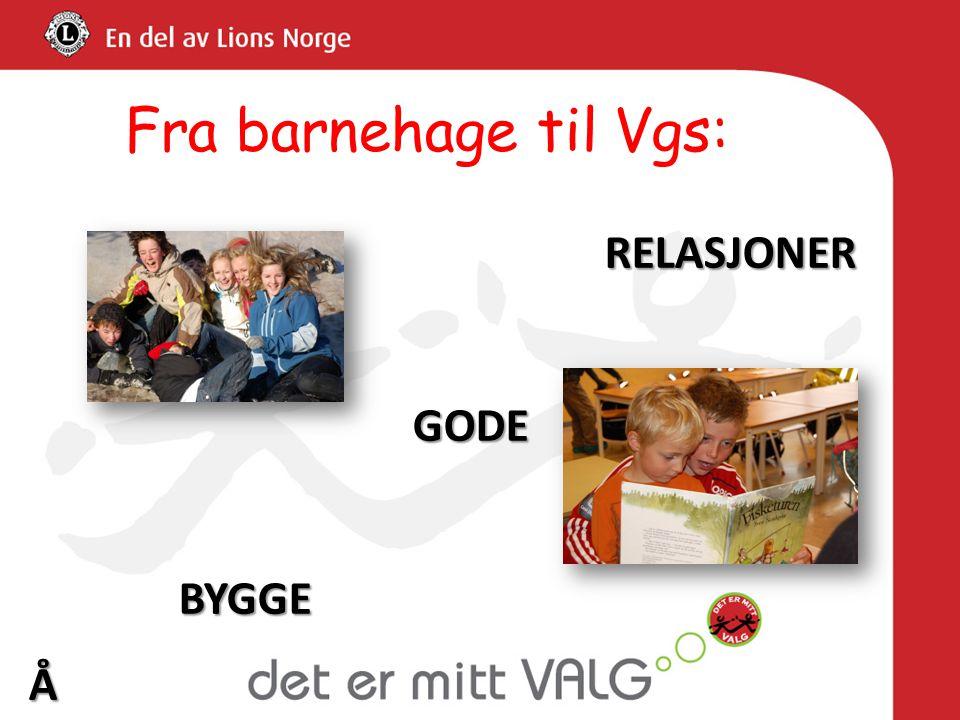 Fra barnehage til Vgs: RELASJONER GODE BYGGE Å Motsatt av mobbing…..