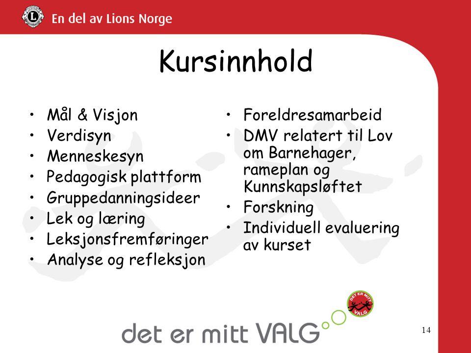 Kursinnhold Mål & Visjon Verdisyn Menneskesyn Pedagogisk plattform