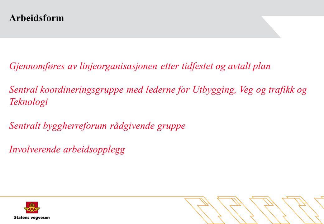 Arbeidsform Gjennomføres av linjeorganisasjonen etter tidfestet og avtalt plan.