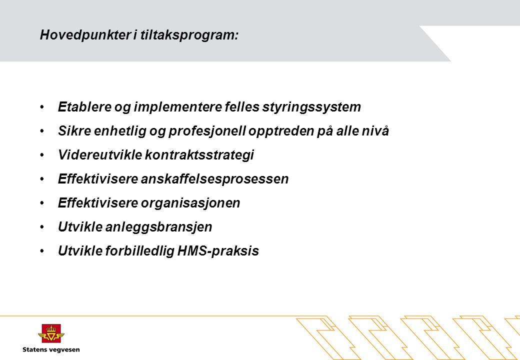 Hovedpunkter i tiltaksprogram: