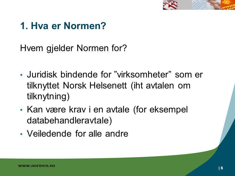 1. Hva er Normen Hvem gjelder Normen for