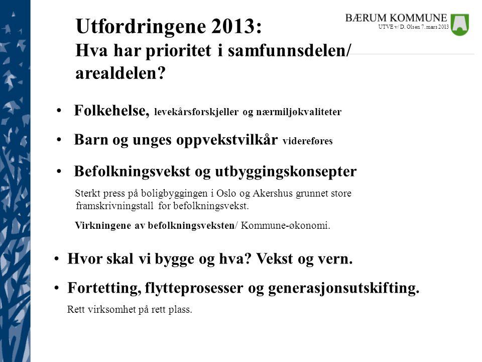 Utfordringene 2013: Hva har prioritet i samfunnsdelen/ arealdelen