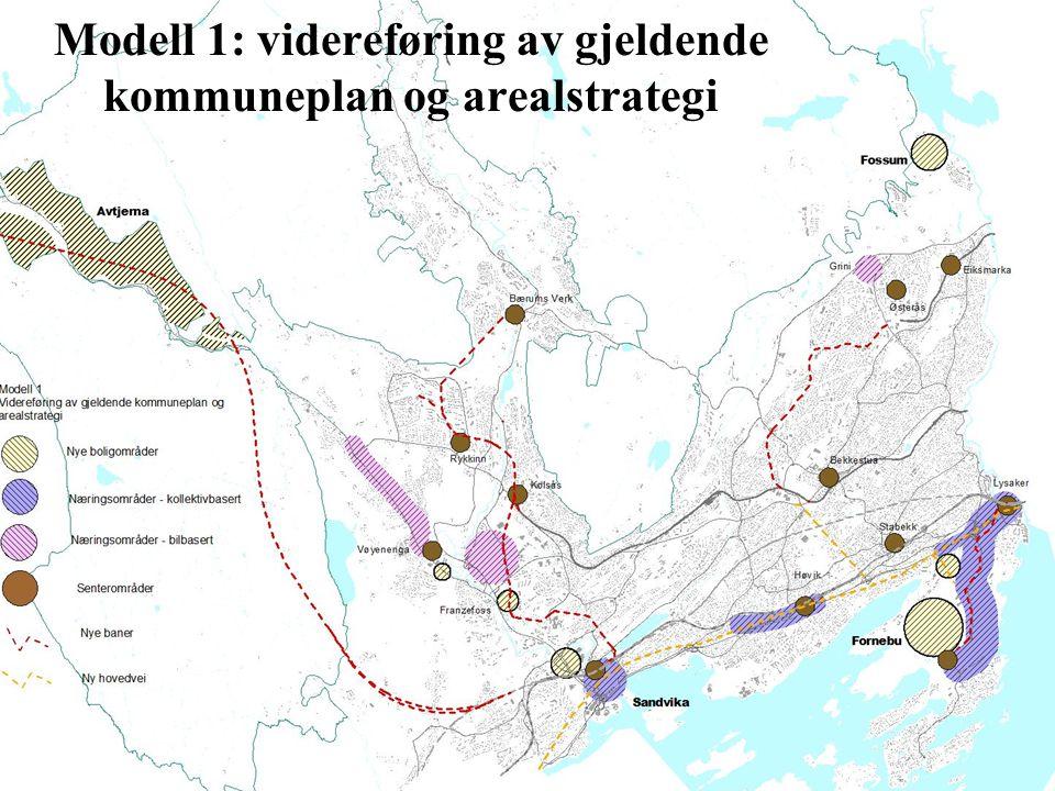 Modell 1: videreføring av gjeldende kommuneplan og arealstrategi