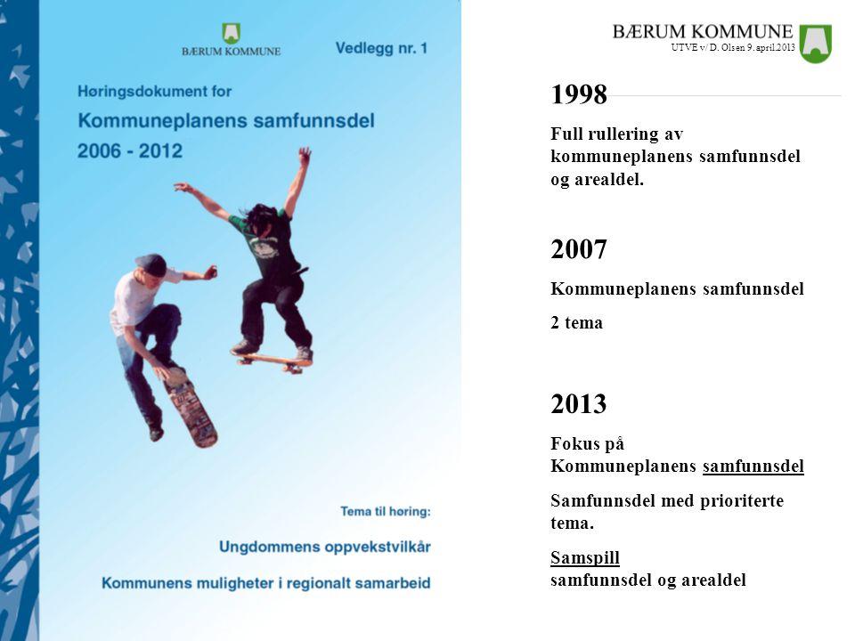 UTVE v/ D. Olsen 9. april.2013 1998. Full rullering av kommuneplanens samfunnsdel og arealdel. 2007.