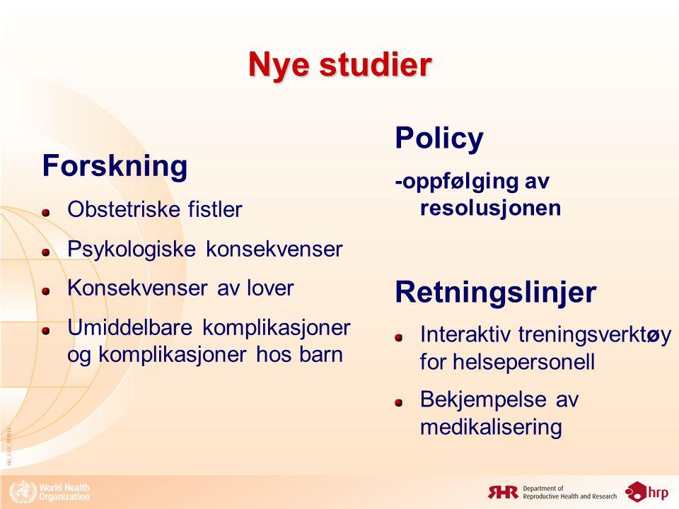 Nye studier Policy Forskning Retningslinjer