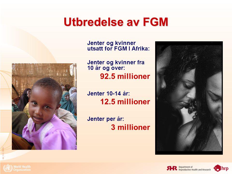 Utbredelse av FGM 92.5 millioner 12.5 millioner 3 millioner
