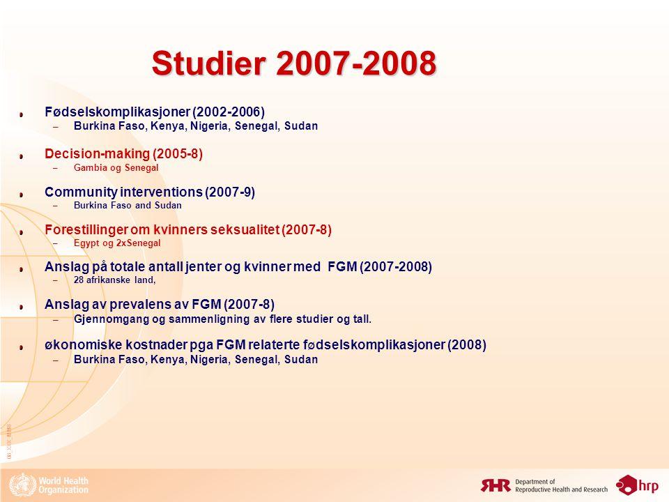 Studier 2007-2008 Fødselskomplikasjoner (2002-2006)