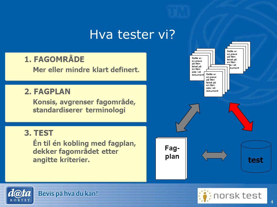 Hva tester vi 1. FAGOMRÅDE 2. FAGPLAN 3. TEST test