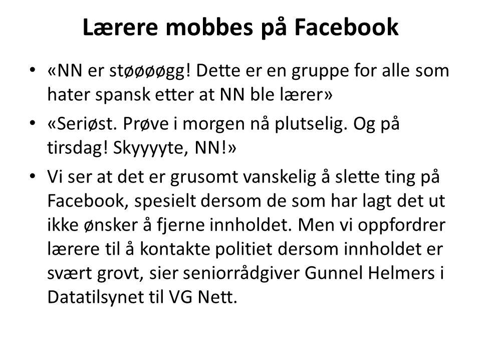Lærere mobbes på Facebook