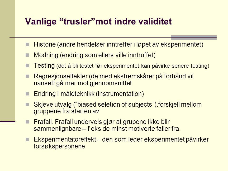 Vanlige trusler mot indre validitet