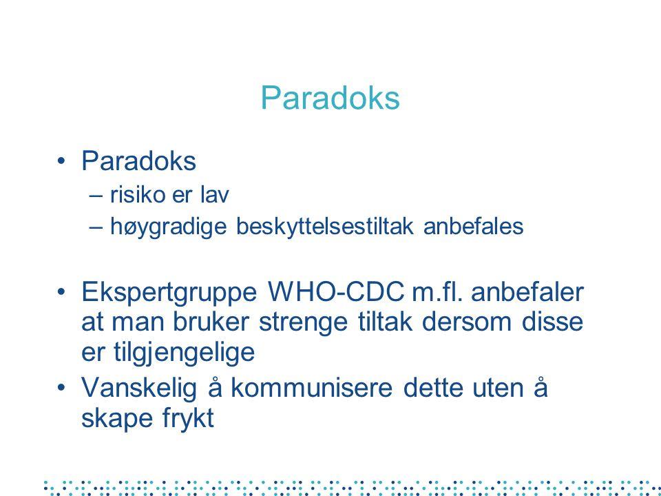 Paradoks Paradoks. risiko er lav. høygradige beskyttelsestiltak anbefales.