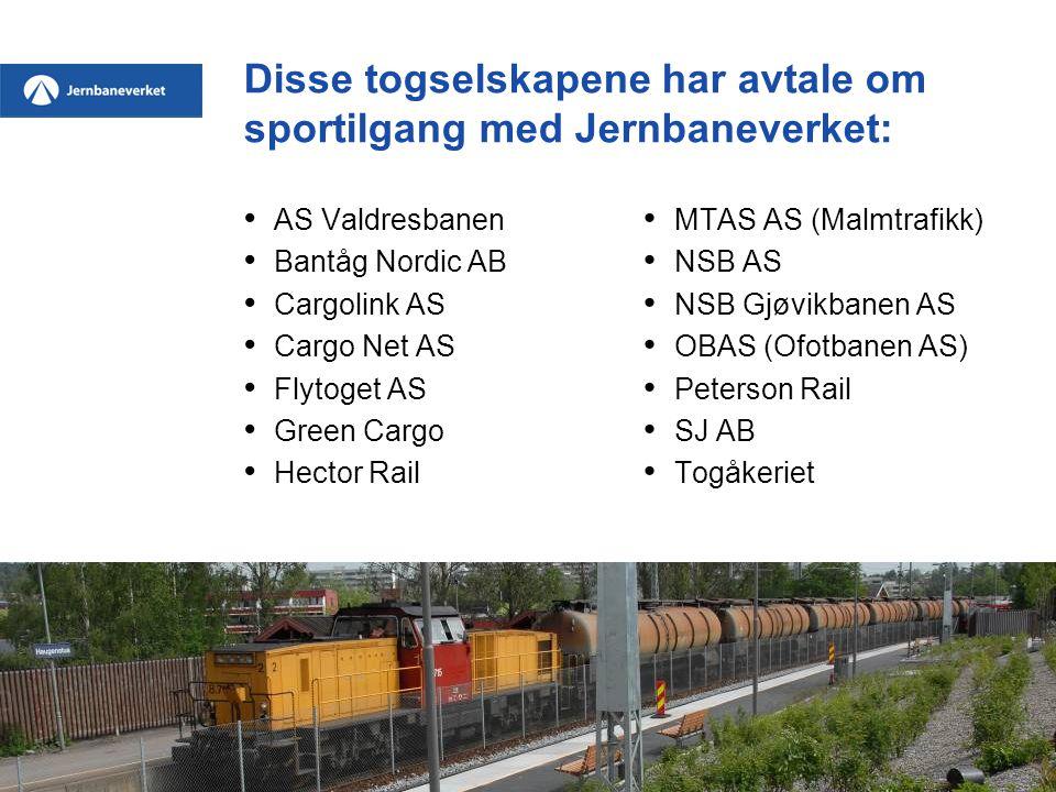 Disse togselskapene har avtale om sportilgang med Jernbaneverket: