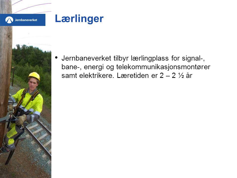Lærlinger Jernbaneverket tilbyr lærlingplass for signal-, bane-, energi og telekommunikasjonsmontører samt elektrikere.