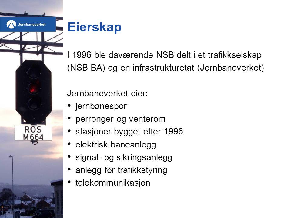 Eierskap I 1996 ble daværende NSB delt i et trafikkselskap
