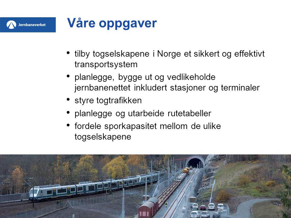 Våre oppgaver tilby togselskapene i Norge et sikkert og effektivt transportsystem.