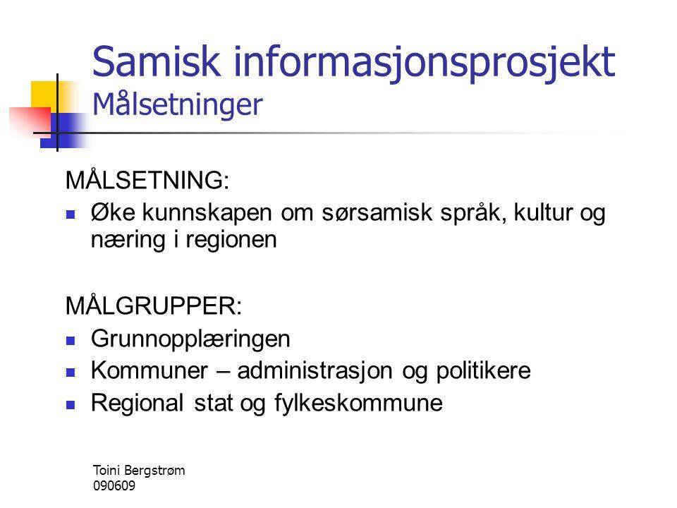 Samisk informasjonsprosjekt Målsetninger