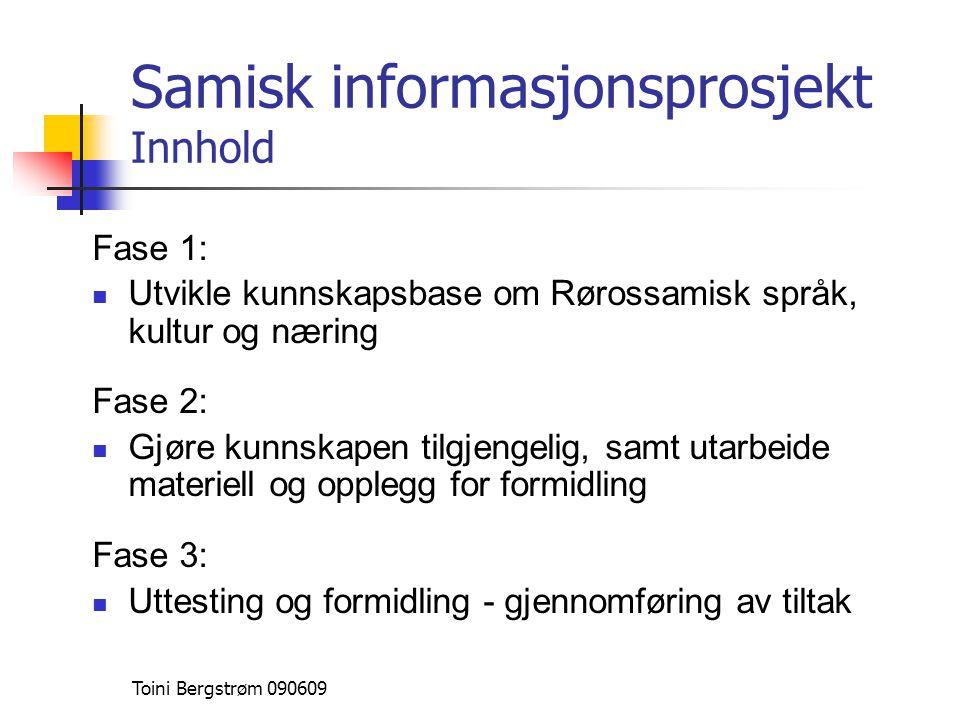 Samisk informasjonsprosjekt Innhold