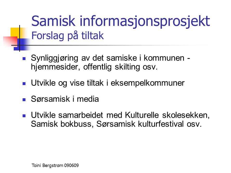 Samisk informasjonsprosjekt Forslag på tiltak